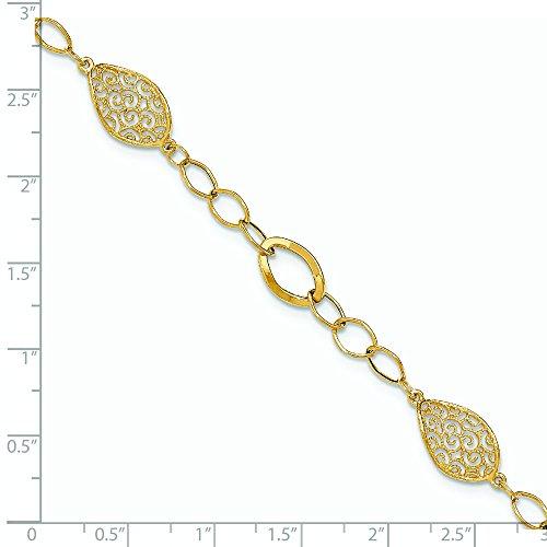 Or jaune 14carats milgrain torsadé en filigrane Poli-Bracelet Lien ovale-20cm
