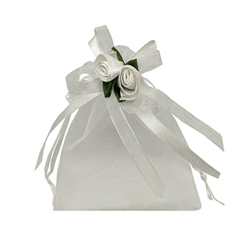 (Ankirol 20pcs Sheer Organza Favor Bags For Wedding 3.8x4.8'' Gift Bags Samples Display Drawstring Rose Pouches (white))