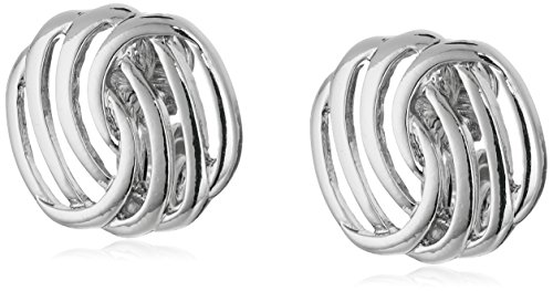 Napier Classics Silver-Tone Button Clip-On Earrings