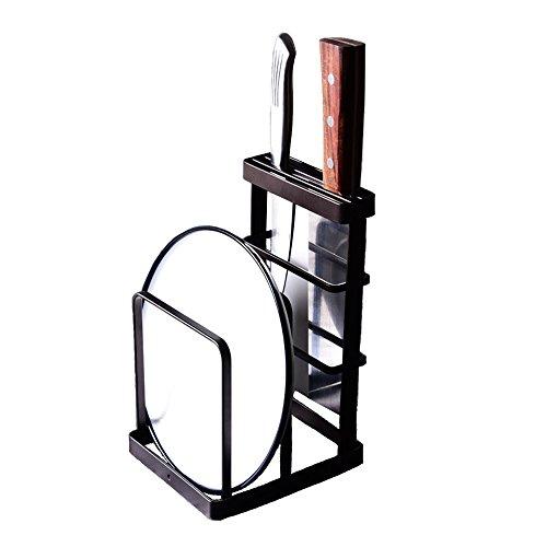 - VANRA Metal Steel Cutting Board Holder Knife Block Kitchen Organizer Pantry Bakeware Rack Pan Pot Cover Lid Rack Stand (Bronze)