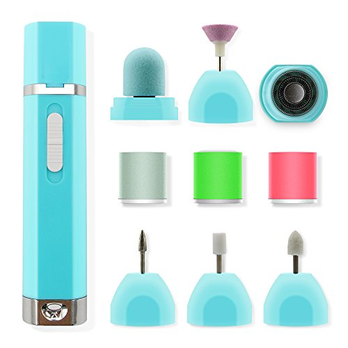 Funria 9 in 1 Electric Nail File Nail Buffer Polisher Manicure and Pedicure Nail Care Set Nail Drill Machine for Grooming of Hands and Feet, Callus Removal