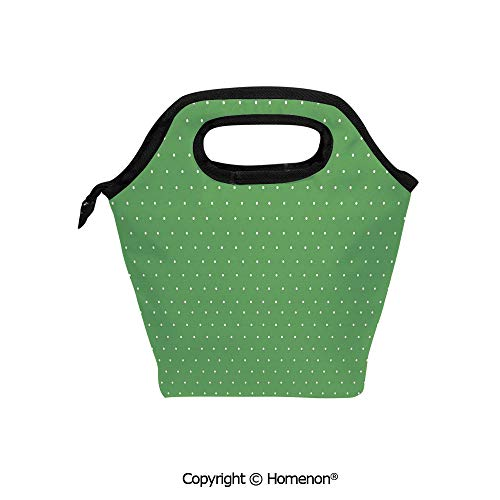 Insulated Neoprene Soft Lunch Bag Tote Handbag lunchbox,3d prited with 50s 60s Style Retro Vintage Inspired Simple with Little Polka Dots,For School work Office Kids Lunch Box & Food Container -