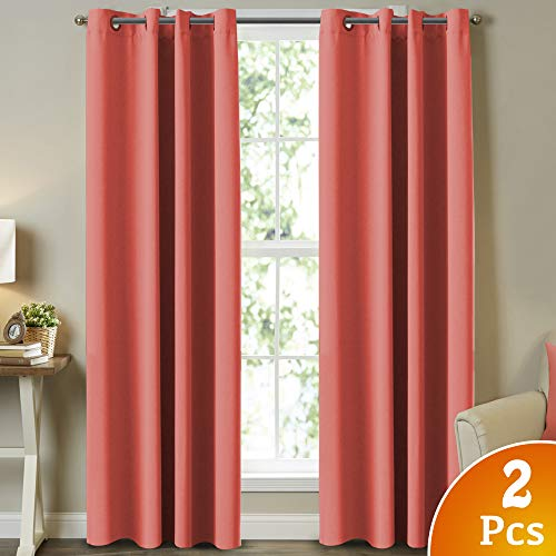 Turquoize Thermal Insulated Room Darkening Solid Grommet Panels for Bedroom Living Room Blackout Window Treatment Blackout Curtains for Girls Room, Coral,(Set of 2, 52 by 96 Inch)