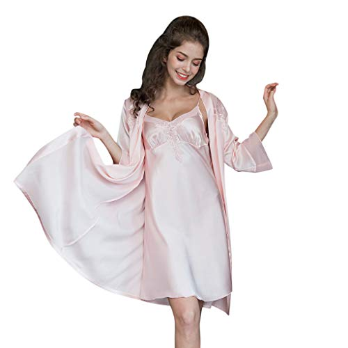 Women's Satin 2 Piece Robe and Nightgown Set Lingerie V Neck Nightwear Satin Sleepwear Chemise Nightdress Pink