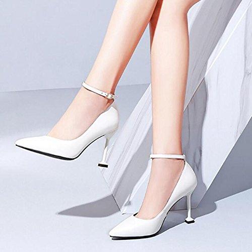 Appuntito Eu35 Tacco Femmina Pulsante Scarpa colore Bene Cjc Moda Black Bianca Pelle Bocca Uno Superficiale Alto Fibbia Dimensioni uk3 0txzax