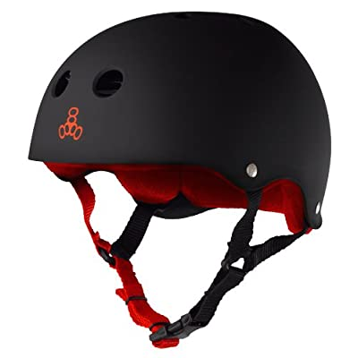 Triple Eight Sweatsaver Liner Skateboarding Helmet, Black Rubber w/ Red, Large : Skate And Skateboarding Helmets : Sports & Outdoors