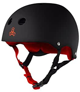 Triple Eight Helmet with Sweatsaver Liner, Black Rubber/Red, Large