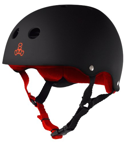 (Triple 8 Sweatsaver Liner Skateboarding Helmet, Black Rubber w/ Red, M )