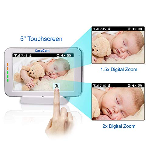 """41m6O8dVmnL CasaCam BM200 Video Baby Monitor with 5"""" Touchscreen and HD Pan & Tilt Camera, Two Way Audio, Lullabies, Nightlight, Automatic Night Vision and Temperature Monitoring Capability    Product Description"""