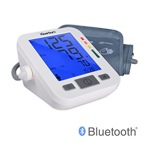 Bluetooth Blood Pressure Monitor System w/ Audible & LCD Readout (Portable) Professional High and Low Monitoring | Upper Arm Ambulatory Care | Men, Women Ladies Lcd