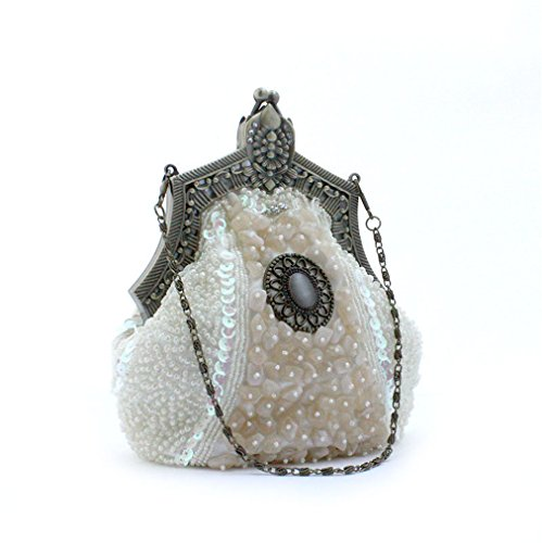 Bridal Female Party Handbags ULKpiaoliang Phone Handmade Bags white Wedding Evening Embroider Banquet Vintage Women Clutch Beads Purse TUxwz6qIB