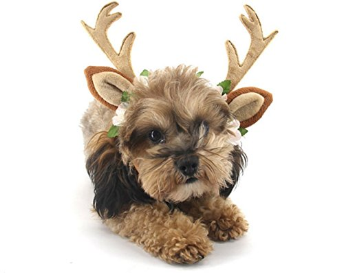 Vevins Pet Antlers Headband Christmas Halloween Costume Adjustable Dogs Cats Hair Accessories, Small Size