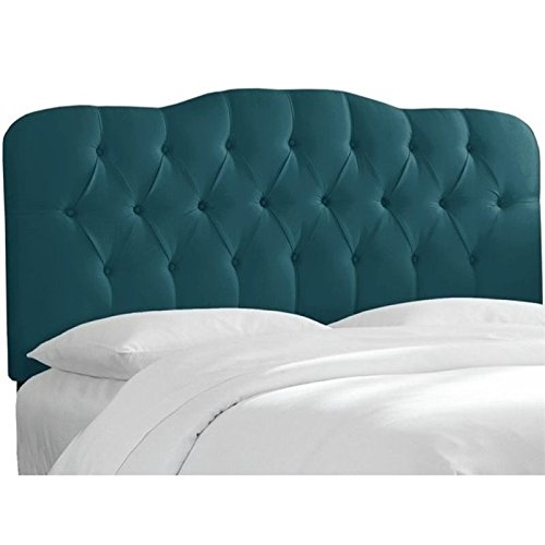 Pemberly Row Upholstered Queen Tufted Panel Headboard in Peacock