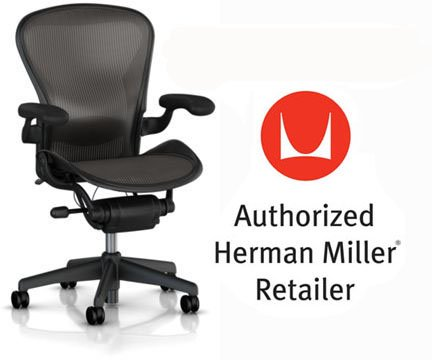 Herman Miller Aeron Basic Chair (Herman Miller Aeron Chair Basic Classic Carbon Graphite Model with Lumbar Support Pad, Fixed Arms and Vinyl Arm Pads - Large Size (C) Classic Dark Carbon Pellicle Home Office Desk)