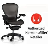 Herman Miller Aeron Chair Basic Classic Carbon Graphite Model with Lumbar Support Pad, Fixed Arms and Vinyl Arm Pads - Medium Size (B) Classic Dark Carbon Pellicle Home Office Desk Task Chair