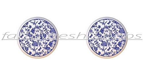 Toile Ceramic (SET OF 2 KNOBS - Blue Toile - Prints Patterns - DECORATIVE Glossy CERAMIC Cupboard Cabinet PULLS Dresser Drawer KNOBS)