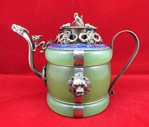 ZAMTAC Chinese Old Tibetan Silver Dragon Lion Green Jade Cloisonne teapot Monkey Cover