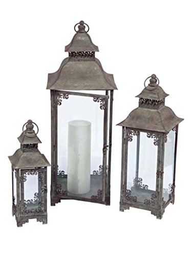 Melrose International Secret Enchanted Garden Metal and Glass Lantern, Set of 3