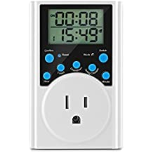 Timer Socket Wall Plug Sunsbell Programmable Plug-in Digital Timer Switch Circulation/Countdown for Humidifier Fish Tank Heater Home Lights US 3-prong Plug AC 125V, White