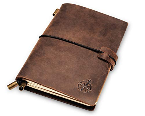 Leather Pocket Notebook | Small, Refillable Travel Journal | Passport Size, Perfect for Writing, Gifts, Travelers, Professionals, as a Diary or Organizer. Small Size | 5.1 x 4 inches - Mini Wrap Journal