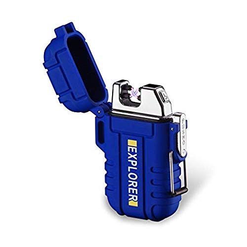 TopwanDoubleArcPlasma USB WaterproofElectricLighter Rechargeable FlamelessWindproofMini Electric LighterforCigar Candle Cigarette Pipe Sport Outdoor (rblue)