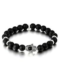Hamsa Hand of Fatima Mens Womens Black Onyx Beads Bracelet, Protection Prayer Mala