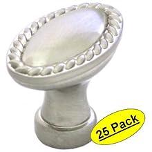 Cosmas 4116SN Satin Nickel Cabinet Hardware Oval Rope Scroll Knob, 25 Pack