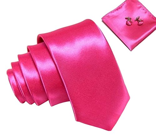 Kingsquare Solid Color Men's Tie, Pocket Square, and Cufflinks matching set (Hot Pink) - Hot Pink Necktie