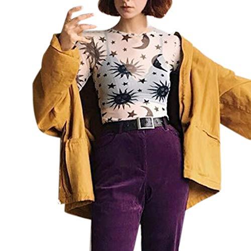 (Women's Sun Moon Star Clubwear Sheer Long Sleeve Mesh Tops Tee Blouse (White, L))