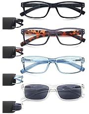 HEEYYOK 4 Pack Leesbril Mens Womens Unisex Retro Ronde Hout-Design Bril voor Lezen Comfortabele Lichtgewicht Kwaliteit met Lente Scharnier