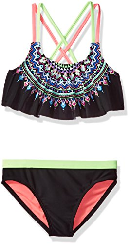 Angel Beach Big Girls' Swim Radical Geo Bikini Set, Multi, 12
