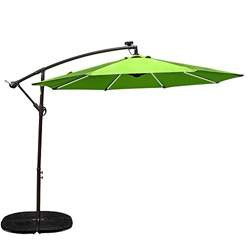 Sundale Outdoor 10 ft Solar Powered 8 LED Stripe Lighted Aluminum Offset Patio Umbrella with Crank and Cross Bar Set, Cantilever Umbrella for Deck, Garden, Backyard, Polyester Canopy (Apple Green)