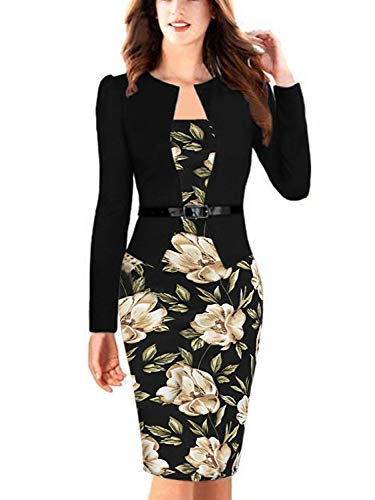 Women's Long Sleeves Classic Cocktail Party Bodycon Pencil Dress (Floral,2XL) ()