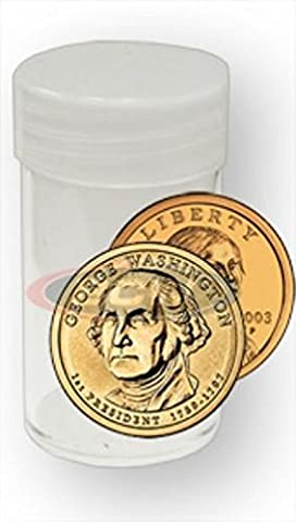 COIN STORAGE TUBES, round clear plastic w/ screw on tops for Small dollar coin / Sacagawea / Presidential (10 - Dollar Coin