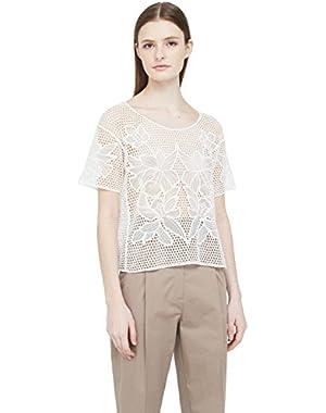 Mango Women's Openwork Cotton-Blend T-Shirt
