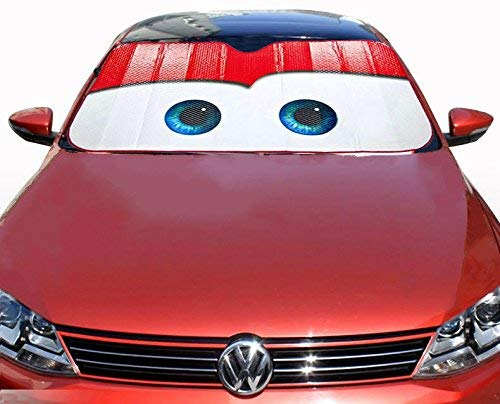 OLSUS Car Windshield Sunshade with Cartoon Eyes Front Auto Car Windshield Sun Shade Foldable Sun Visor Vehicle Accessory ()
