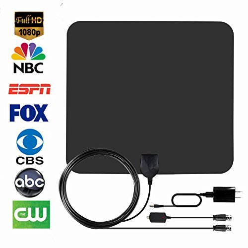 HDTV Antenna,Firstbuy Best Indoor 1080P Amplified Digital TV Antenna 50 Mile Range with Detachable Amplifier Signal Booster,USB Power Supply,16.5Ft High Performance Coaxial Cable-Black