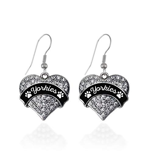 Inspired Silver - Yorkies - Paw Prints Charm Earrings for Women - Silver Pave Heart Charm French Hook Drop Earrings with Cubic Zirconia Jewelry