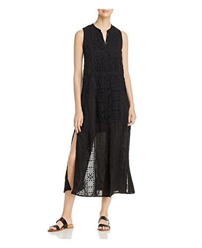 Johnny Was Women's Louise Embroidered Mandarin-Collar Dress, Black, X-Small