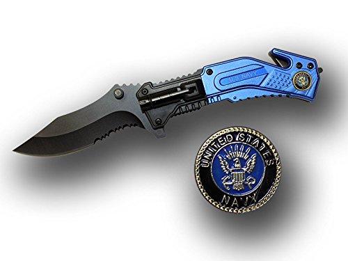Rtek USA Spring Assisted Knife w LED Light/Belt Cutter/Glass - Service Medallion (Navy) ()