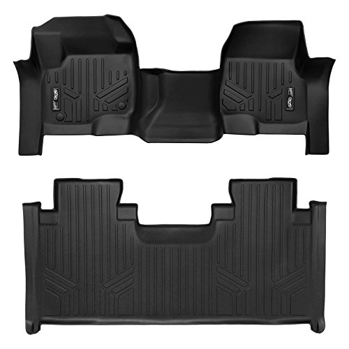 2019 F350 Super Duty - SMARTLINER Floor Mats 2 Row Liner Set Black for 2017-2019 Ford F-250/F-350 Super Duty SuperCab with 1st Row Bench Seat