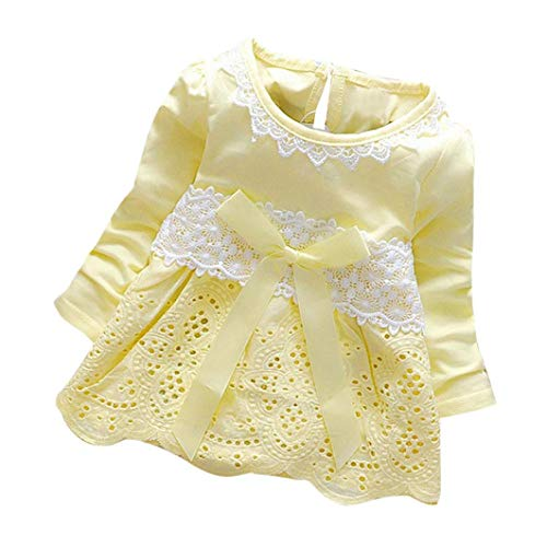 Sinfu Dress for Baby Girls Long Sleeve Party Lace Flower Bow Princess Dress Kids Clothes (0-6 Months, Yellow)