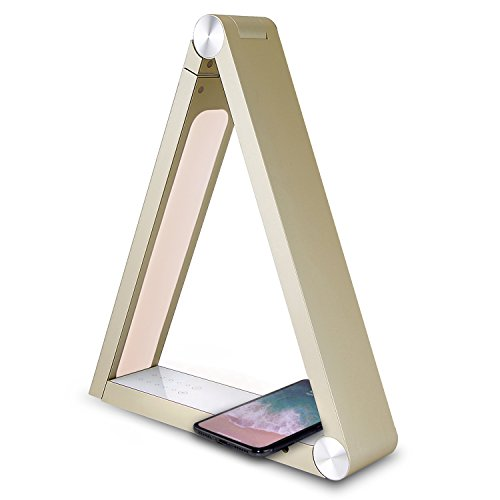 Price comparison product image qi Wireless Charger Light Desk lamp LED for iPhone x,  8 / Galaxy s8,  s9 with Intelligent 5 Touch Sensitive Lighting Levels / 2X ismart USB Ports (Gold)