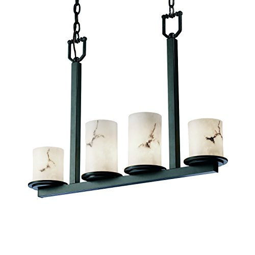 Justice Design Group LumenAria 4-Light Chandelier - Matte Black Finish with Faux Alabaster Resin Shade