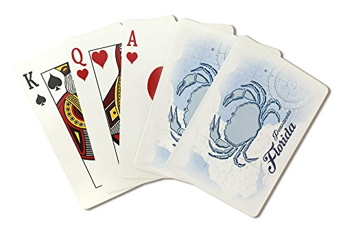 Pensacola, Florida - Crab - Blue - Coastal Icon (Playing Card Deck - 52 Card Poker Size with Jokers) ()