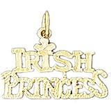 14K Yellow Gold Irish Princess Pendant Necklace - 16 mm