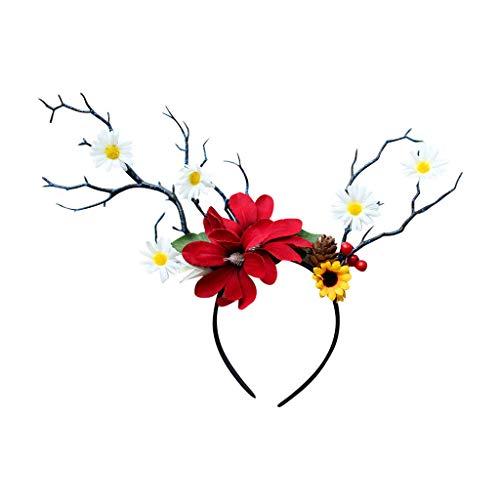 Iusun Easter Christmas Headband Deer Antlers Colorful Flower Cosplay Headdress Head Wrap Hairband Hoop Simple Sweet Girls Hairpin Accessory Hair Care Decoration (Best Flowers To Wear In Hair)