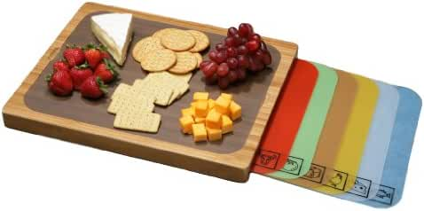 Seville Classics Easy-to-Clean Bamboo Cutting Board and 7 Color-Coded Flexible Cutting Mats with Food Icons Set