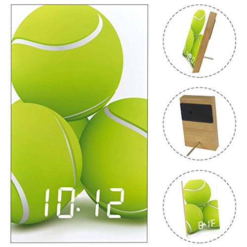 Ball Tennis Digital LED Clock with Time Date Temperature Desk Alarm with USB Charger Battery Powered for Bedroom Office Home (Tennis Ball Charger)