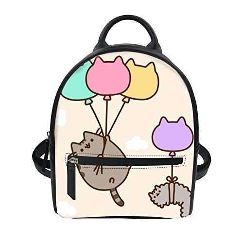 Horeset Cute Leather Backpack Cartoon Cat Print Mini Backpack Purse for  Girls Women 3785aca3bed58